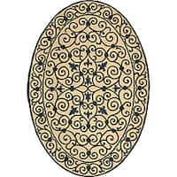 "Safavieh Hand-hooked Iron Gate Ivory/ Navy Blue Wool Rug - 7'6"" x 9'6"" oval"