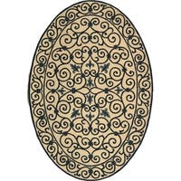"""Safavieh Hand-hooked Iron Gate Ivory/ Navy Blue Wool Rug - 7'6"""" x 9'6"""" oval"""