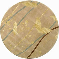 Safavieh Handmade Rodeo Drive Modern Abstract Ivory/ Gold Wool Rug (5'9 Round) - 5'9