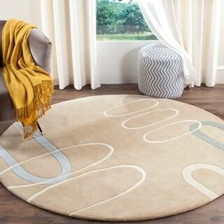Safavieh Handmade Soho Ellipses Modern Abstract Beige Wool Rug (6' x 6' Round)