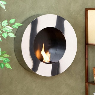 Round Stainless Steel Wall-mount Fireplace