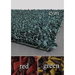Artist's Loom Hand-woven Wool Shag Rug (7'9 Round) (Option: Red)