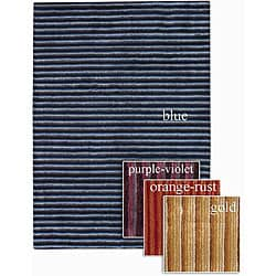 Artist's Loom Hand-tufted Contemporary Stripes Rug (7'9 Round)
