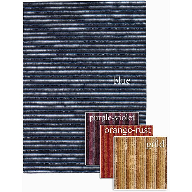 Artist's Loom Hand-tufted Contemporary Stripes Rug (7'9 x 10'6)