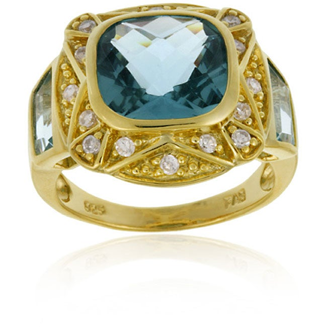 Icz Stonez 18k Gold over Silver Caribbean Mist/ CZ Square Ring