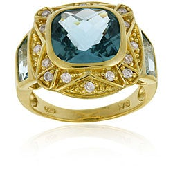 Icz Stonez 18k Gold over Silver Caribbean Mist/ CZ Square Ring (More options available)