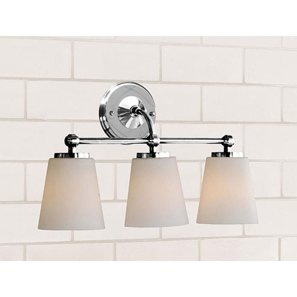 Shop Chrome Bathroom Triple Sconce Free Shipping Today Overstock - Triple bathroom sconce