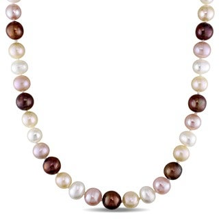 Miadora Sterling Silver Multi-color Cultured Freshwater Pearl Necklace (9-10 mm)