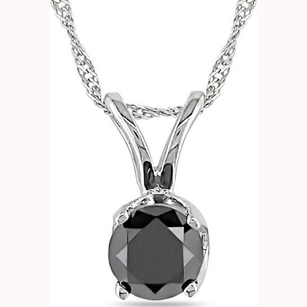 Miadora 14k White Gold 1/3ct TDW Black Diamond Solitaire Necklace