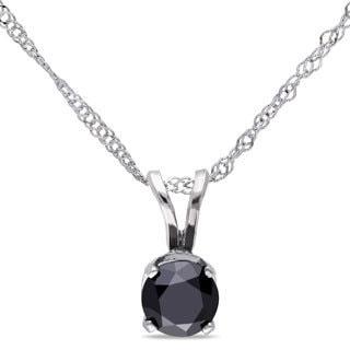 Miadora 14k Gold 1/2ct TDW Black Diamond Solitaire Necklace