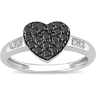 Miadora 10k White Gold 1/3ct TDW Black and White Diamond Ring