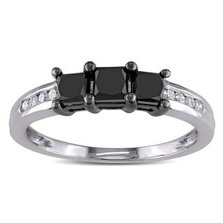 Miadora 10k Gold 1ct TDW Black and White Diamond Ring (I-J, I2)