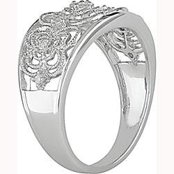 Miadora 10k White Gold 1/10ct TDW Diamond Anniversary Ring - Thumbnail 1