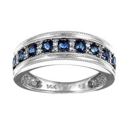 Miadora 14k White Gold Sapphire and 1/10ct TDW Diamond Ring (I-J, I2)