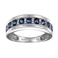 Miadora 14k White Gold Sapphire and 1/10ct TDW Diamond Ring (I-J, I2)