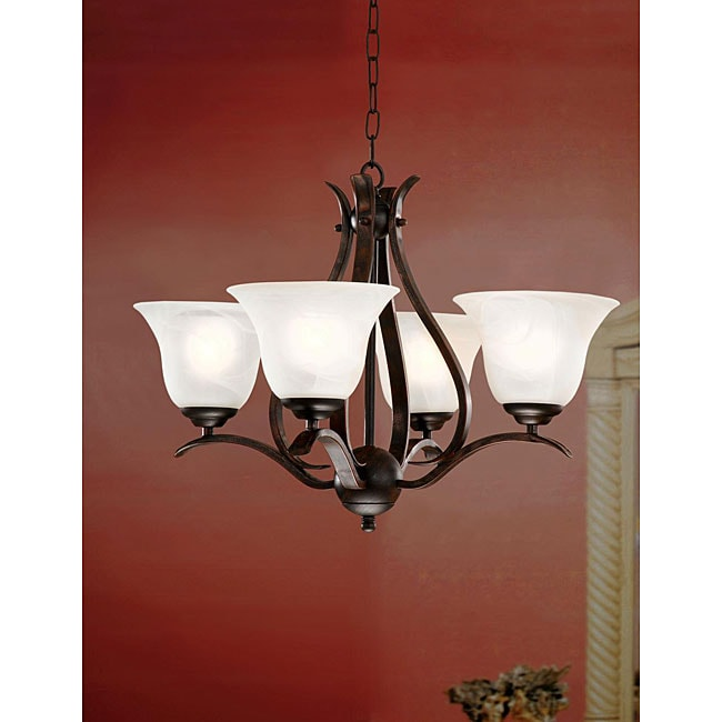 Bronze Ironwood 4-light Iron Chandelier