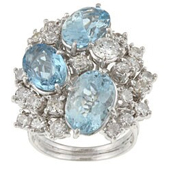Pre-owned 18k Gold Blue Topaz/ 3ct TDW Diamond Estate Ring (H, SI1) (Size 6.5)