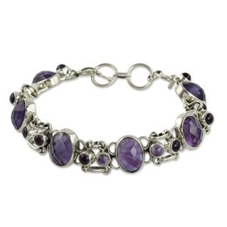 Handmade Silver Amethyst Royal Purple Link Bracelet (India)