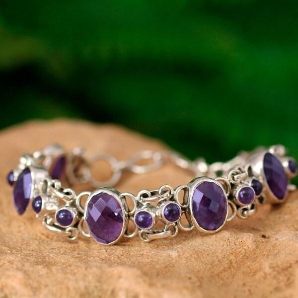 Handmade Silver Amethyst Royal Purple Link Bracelet (India)