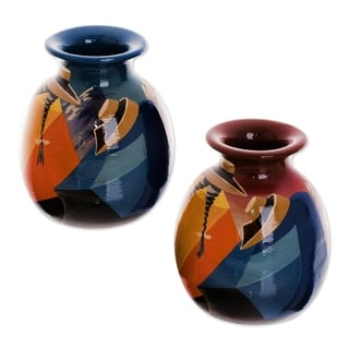 Set of 2 Ceramic 'Get-Together' Vases  , Handmade in Peru