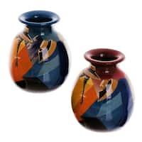 Set of 2 Ceramic 'Get-Together' Vases , Handmade in Peru