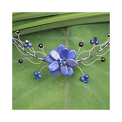 Handmade 'Blue Bouquet' Lapis Lazuli Choker (Thailand)