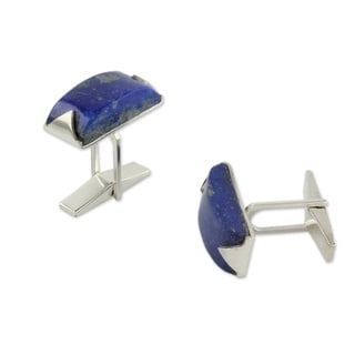 Handcrafted Sterling Silver Blue Intensity Lapis Lazuli Cufflinks (India)