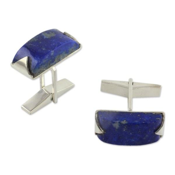 Handmade Sterling Silver Blue Intensity Lapis Lazuli Cufflinks (India)