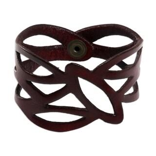 Handmade Leather 'Crimson Nest' Wristband Bracelet (Indonesia)