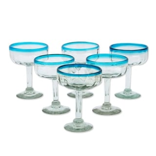 Set of 6 Hand Blown Glass Aquamarine Margarita Glasses (Mexico)