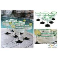 Handmade Set of 6 Blown Glass Green Margarita Glasses (Mexico)