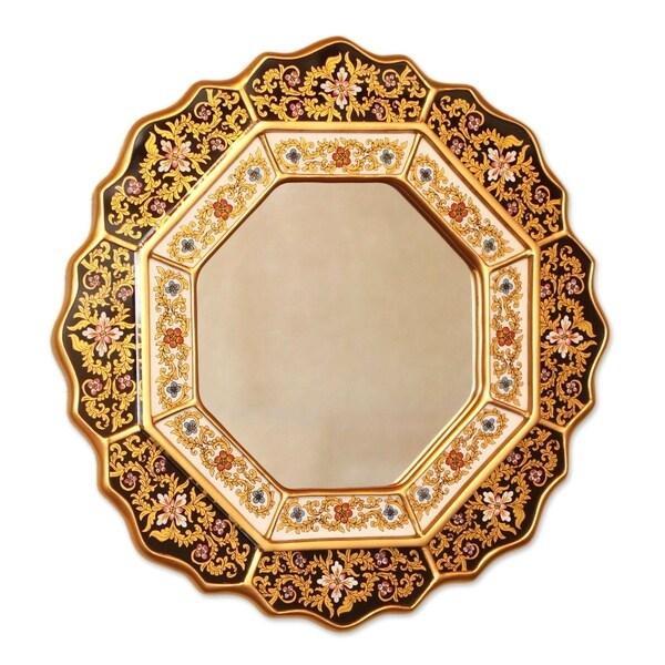 Handmade Black Star Mirror (Peru) - Metallic