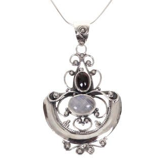 Ornate Arabesque Cabochon Moonstone and Garnet Set in Openwork 925 Sterling Silver Womens Pendant Necklace (Indonesia)|https://ak1.ostkcdn.com/images/products/4047194/P12066459.jpg?impolicy=medium