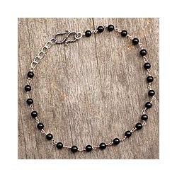 Sterling Silver 'Black and White' Onyx Anklet (India)