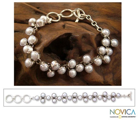 Handmade Many Moons Perfect for Bridal Elegant Toggle Clasp Round White Pearls 925 Sterling Silver Modern Wom (India)