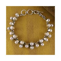 Many Moons Perfect for Bridal Elegant Toggle Clasp Round White Pearls 925 Sterling Silver Modern Wom