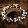 Many Moons Perfect for Bridal Elegant Toggle Clasp Round White Pearls 925 Sterling Silver Modern Womens Link Bracelet (India)