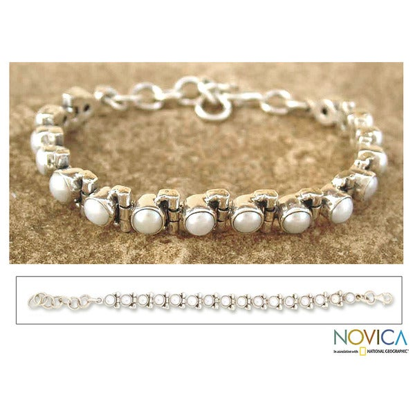 Purity Flexible Fluid Adjustable Everyday or Special Occasion White Pearls 925 Sterling Silver Womens Tennis Bracelet (India)