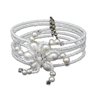 Handmade Steel 'Dazzling Pinwheel' Pearl Wrap Cuff Bracelet (Thailand)