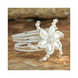 Steel 'Dazzling Pinwheel' Pearl Wrap Cuff Bracelet (Thailand)