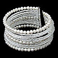 Tantalizing Rows of Crystal Beads and White Pearls on Stainless Steel Wire Adjustable Womens Fashion Cuff Bracelet (Thailand)