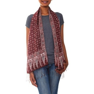 Handmade Silk 'Love Awakens' Batik Scarf (Indonesia)