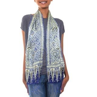 Royal Java Hand Stamped Artisan Batik Shades of Blue Gossamer Light Weight 100% Silk Knotted Fringe Womens Scarf (Indonesia)