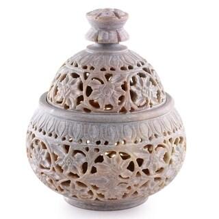 Handmade Soapstone Ivy and Lace Jar (India)