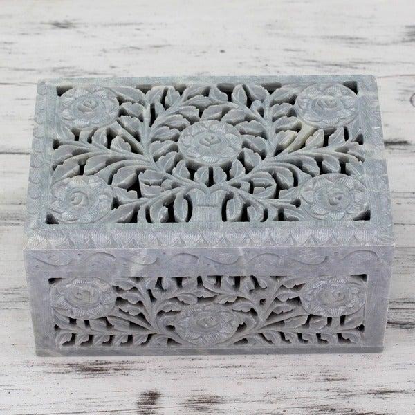 Handmade Soapstone 'White Roses' Jewelry Box (India)