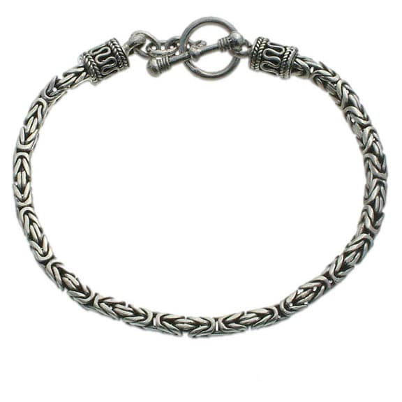 Handmade Balinese Byzantine Style Chain Artisan Bracelet with Toggle Closure in Oxidized 925 Sterling Silver (Indonesia)