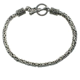 Balinese Byzantine Style Chain Artisan Bracelet with Toggle Closure in Oxidized 925 Sterling Silver Womens Bracelet (Indonesia)