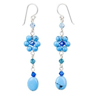 Handmade Sterling Silver Turquoise Sweet Blue Eternal Earrings (Thailand)