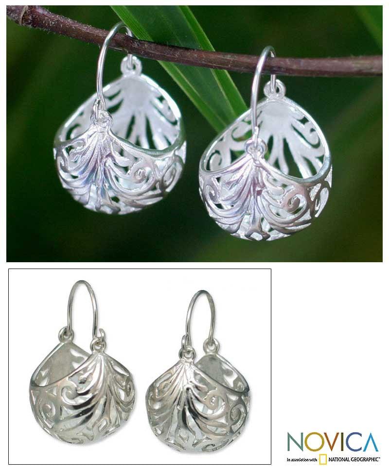 Handmade Sterling Silver X27 Fern Basket Hoop Earrings Thailand