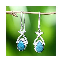 Temptions Veined Blue Green Teardrops of Polished Turquoise in 925 Sterling Silver Modern Womens Dangle Earrings (Indonesia)
